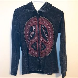 JAYLI Peace Sign Embroidered Distressed Hoodie Med